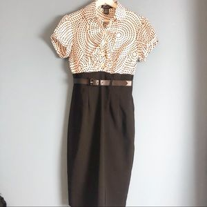 Roulette Dress with pencil skirt bottom Size 6